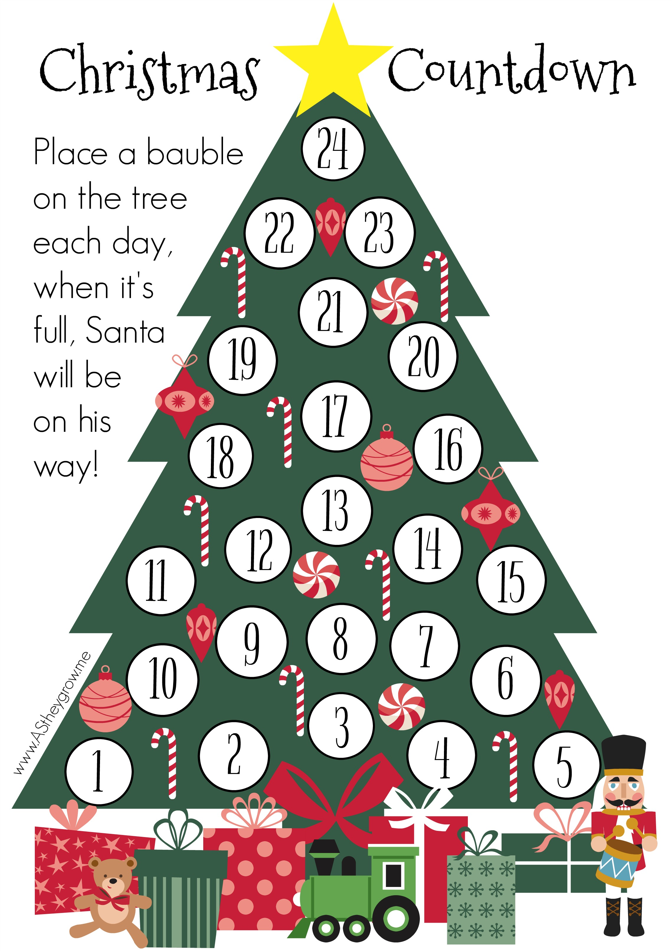 Crafty Christmas Countdown – Free Printable – AS they grow